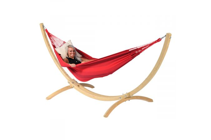 Amaca con supporto singolo 'Wood & Dream' Red