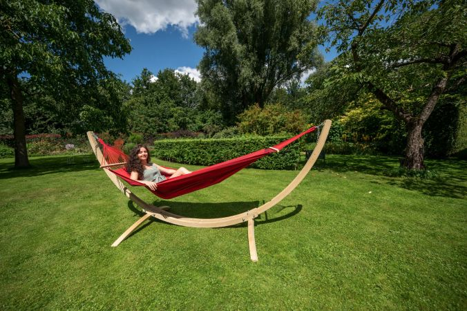 Amaca con supporto singolo 'Wood & Relax' Red