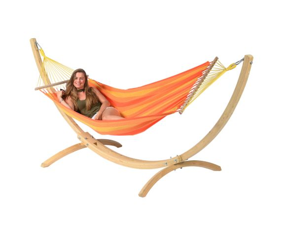 Amaca con supporto singolo 'Wood & Relax' Orange