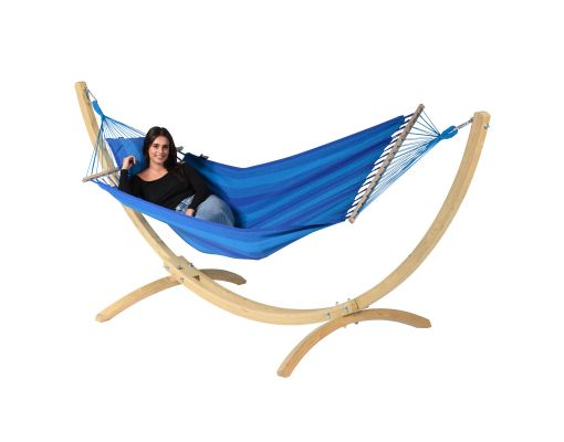 Amaca con supporto singolo 'Wood & Relax' Blue