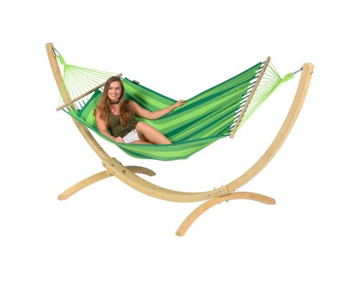 Amaca con supporto singolo 'Wood & Relax' Green